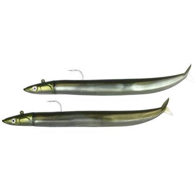 Leurres souples fiiish double combo crazy sand eel 100 off shore 10cm 10g kaki - Leurres souples | Pacific Pêche