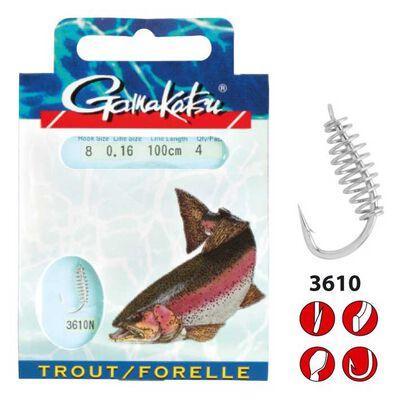 Hameçon monté truite gamakatsu 3610n trout spiral 60cm - Hameçons montés | Pacific Pêche