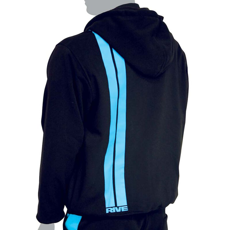 Sweat à capuche rive sans zip couleur noir-aqua - Sweat Shirt   Pacific Pêche