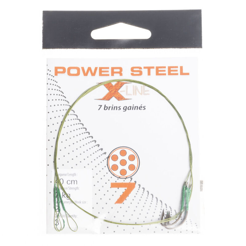 Bas de ligne acier carnassier x-line power steel 7 brins 40 cm + ham. simple (x3) - Bas de ligne montés | Pacific Pêche