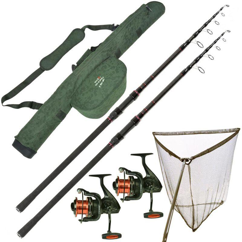 Pack mack2 sword cannes telescopique 12' + moulinets + épuisette + fourreau - Packs | Pacific Pêche