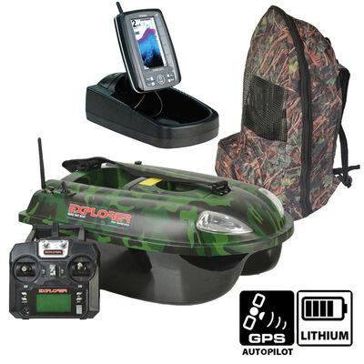 Pack bateau amorceur quad explorer camo 5.8 ghz autopilot + sond. toslon tf500 - Packs | Pacific Pêche