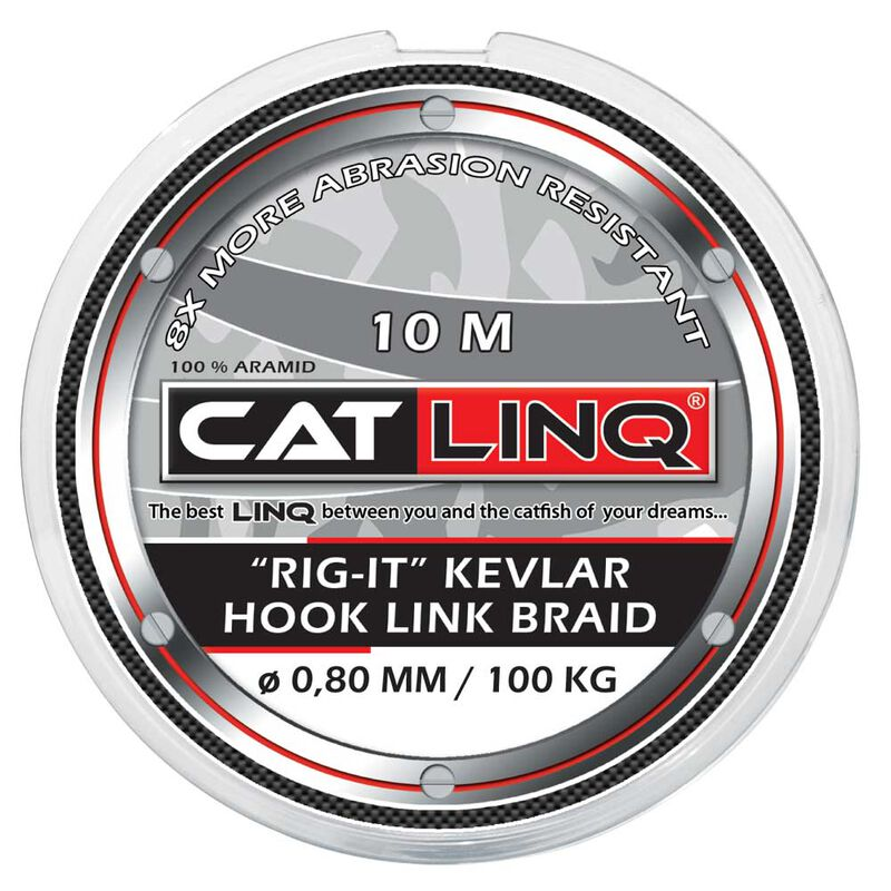 Tresse à bas de ligne silure cat linq rig-it kevlar hooklink braid dark brown 10m - Têtes de ligne / Leaders | Pacific Pêche
