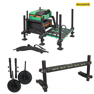 Pack station complète sensas jumbo 3800 + barre repose canne + kit roues - Packs | Pacific Pêche