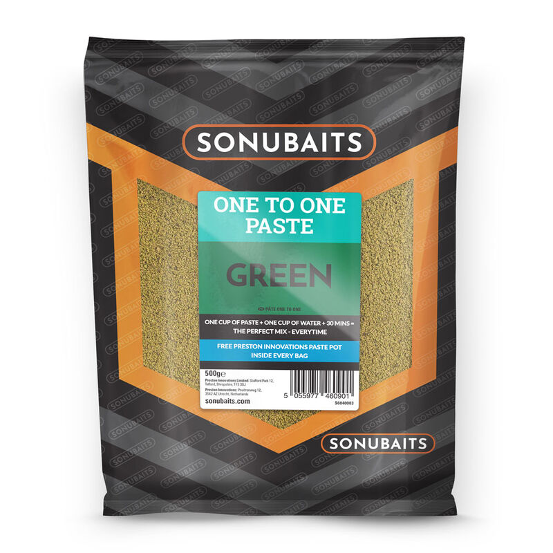 Pâte d'eschage coup sonubaits one to one paste green 500g - Eschage | Pacific Pêche