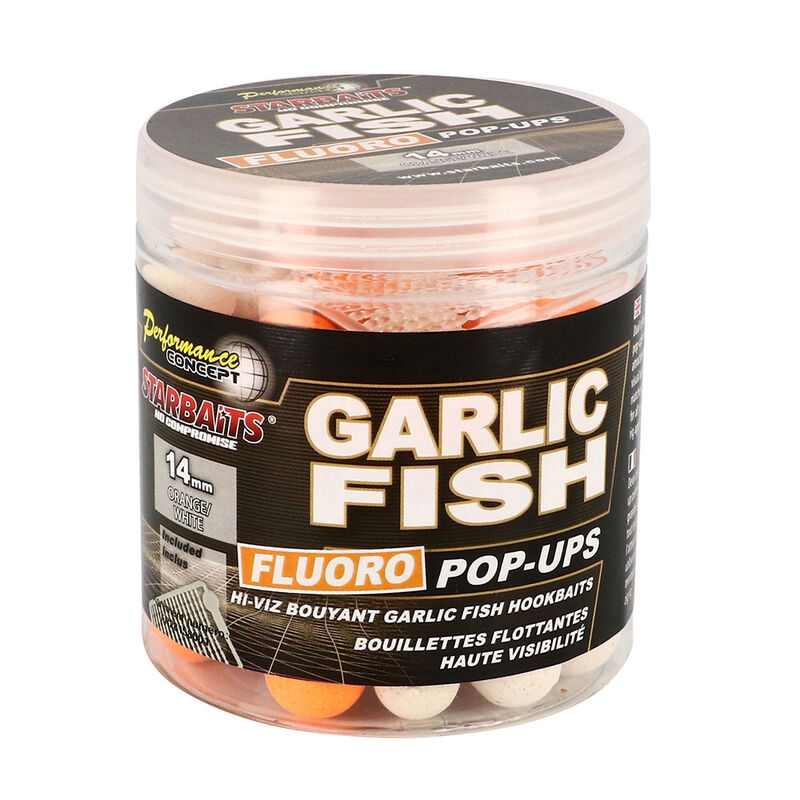 Bouillettes flottantes carpe performance.con garlic fish fluo pop up 80g - Flottantes | Pacific Pêche