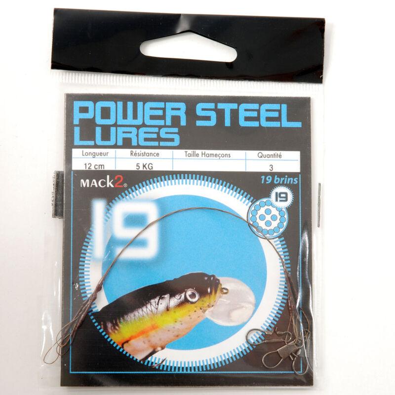 Bas de ligne acier monté carnassier x-line power steel 19 brins spécial leurres 12cm (x3) - Bas de ligne montés   Pacific Pêche