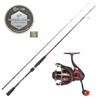 Pack carnassier invictus 732 mh + moulinet irony 2508 fds + tresse - Cannes | Pacific Pêche