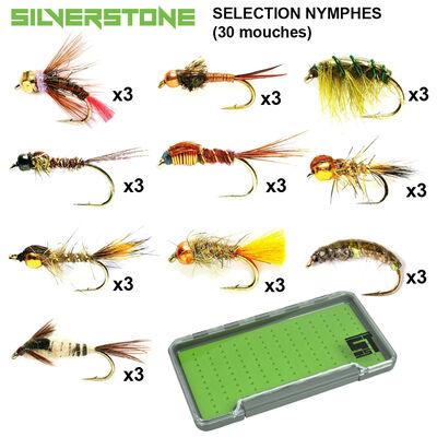 Sélection silverstone nymphes 10 modèles (30 mouches + boite étanche) - Packs | Pacific Pêche