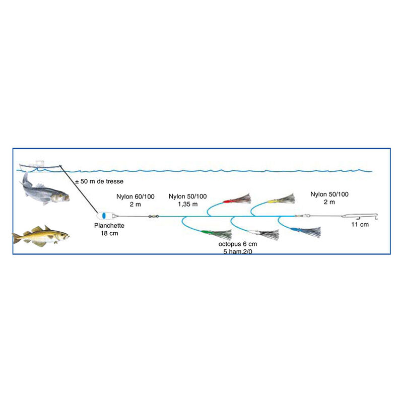 Ligne de traine mer flashmer capitaine - Bas de Lignes / Lignes Montées   Pacific Pêche
