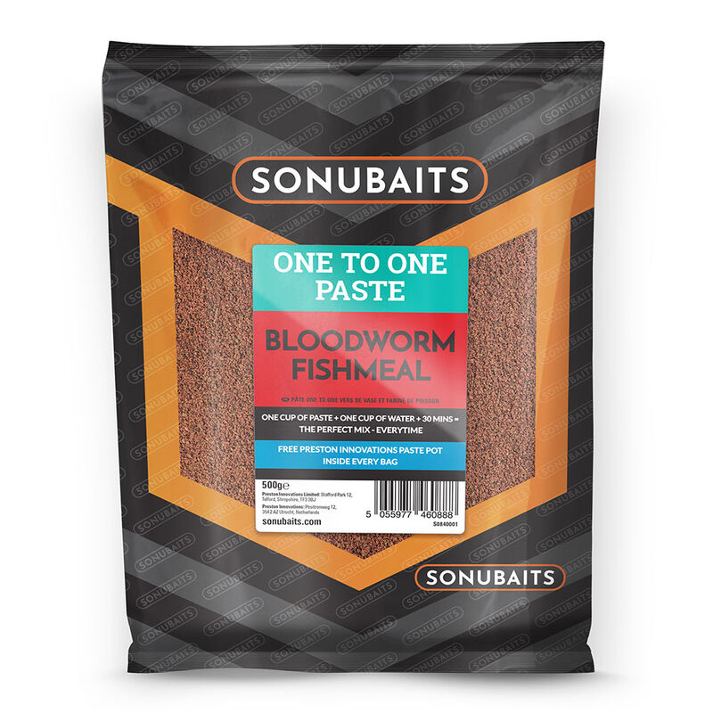 Pâte d'eschage coup sonubaits one to one paste bloodworm fishmeal 500g - Eschage | Pacific Pêche