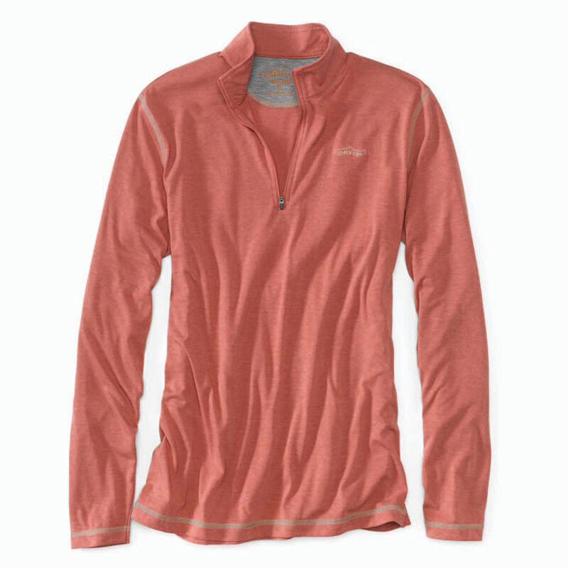 T-shirt à manches longues orvis drirelease zipneck red (rouge chiné) - Tee-shirts   Pacific Pêche