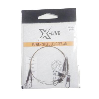 Bas de ligne acier carnassier x-line power steel 49 brins spécial leurres 30cm (x3) - Bas de ligne montés | Pacific Pêche