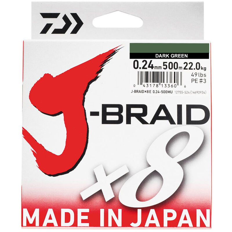 Tresse daiwa jbraid 8 brins dark green 500m - Tresses | Pacific Pêche