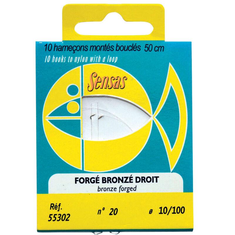 Hameçons montés coup sensas forge bronze droit 50cm (x10) - Hameçons Montés | Pacific Pêche
