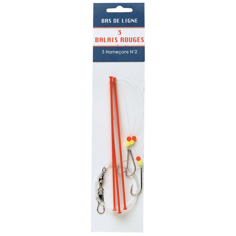 Bas de ligne mer flashmer balais rouge x3 - Bas de Lignes / Lignes Montées | Pacific Pêche