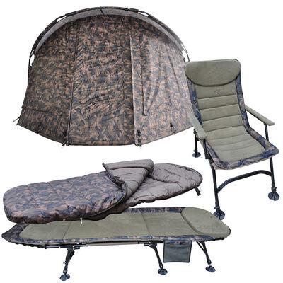 Pack confort mack2 levelchair + sleep.bag + bedchair + biwy camo - Packs | Pacific Pêche