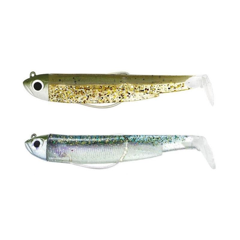 Leurre souple fiiish double combo black minnow 120 shore 12cm 12g kaki pailleté - ghost minnnow - Souples | Pacific Pêche