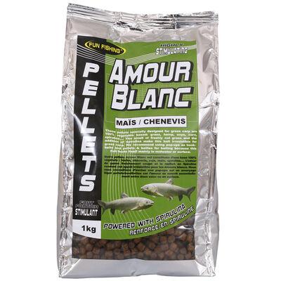 Pellets d'amorçage carpe fun fishing amour blanc pellets mais chenevis 6mm 1kg - Amorçages | Pacific Pêche