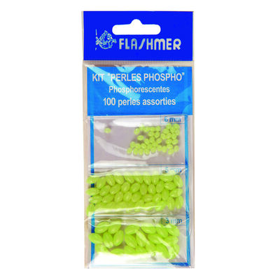 Kit 100 perles flashmer phospho (dure) ecoline - Perles | Pacific Pêche
