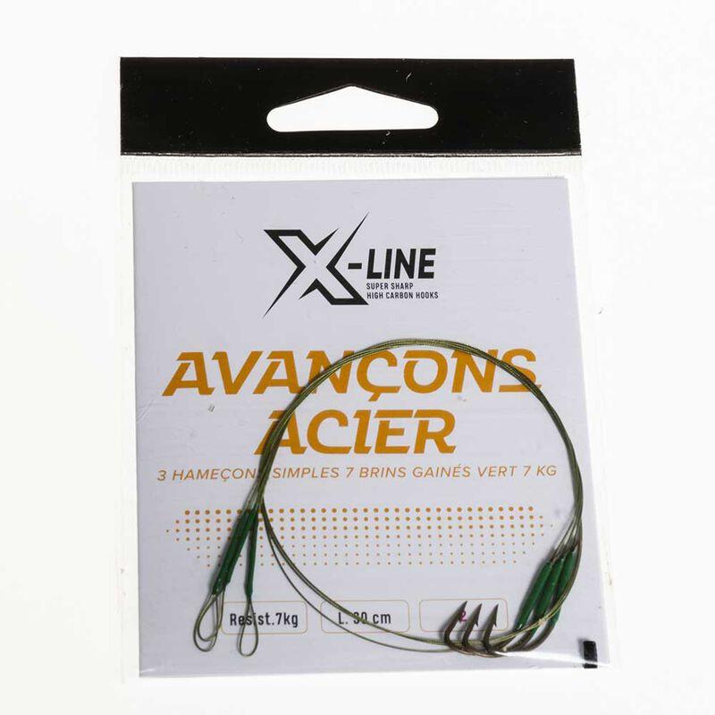Bas de ligne acier carnassier x-line hameçon simple 7kg (x3) - Bas de ligne montés | Pacific Pêche