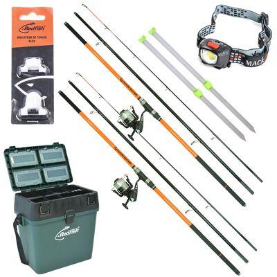 Pack complet  surfcasting redfish 2 ensembles + 2 piques + caisse de rangement + lampe + alert light - Packs | Pacific Pêche