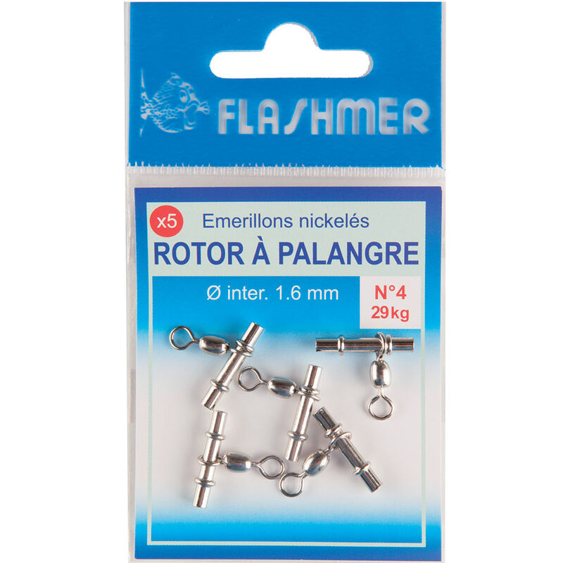 Emerillon coulisseau potence flashmer rotor palangre n°4 29kg (x5) - Emerillons mer | Pacific Pêche