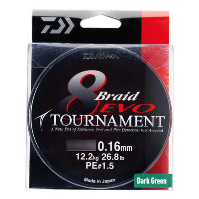 Tresse daiwa tournament 8 braid ev dark green 300m - Tresses | Pacific Pêche