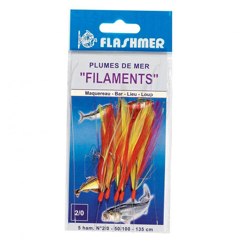 Bas de ligne mer flashmer plume filament 5 hamecons 2/0 - Bas de Lignes / Lignes Montées | Pacific Pêche