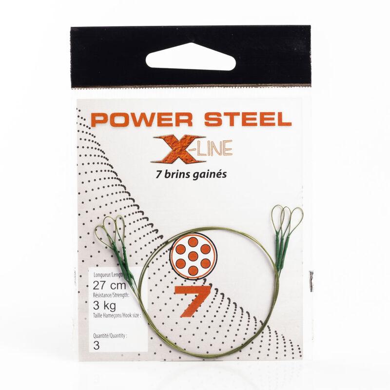 Bas de ligne acier carnassier x-line power steel 7 brins 27cm (x3) - Bas de ligne montés | Pacific Pêche