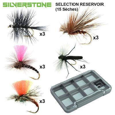 Sélection silverstone réservoir 5 sèches (15 mouches + boite étanche) - Packs | Pacific Pêche