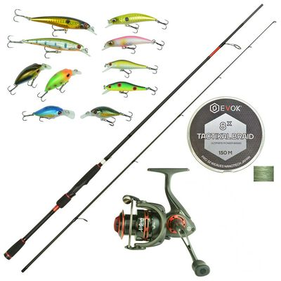 Pack canne qualium 1.80m + moulinet air force 2506 + tresse + leurres - Cannes | Pacific Pêche