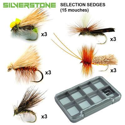 Sélection silverstone 5 sedges (15 mouches + boite étanche) - Packs | Pacific Pêche