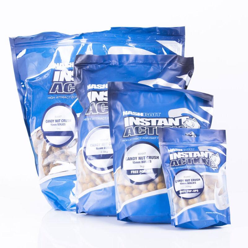 Bouillettes carpe nashbait instant action candy nut crush 15mm - Denses | Pacific Pêche