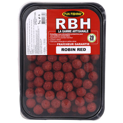 Bouillettes carpe fun fishing rbh boilies robin red 20mm 1kg - Denses | Pacific Pêche