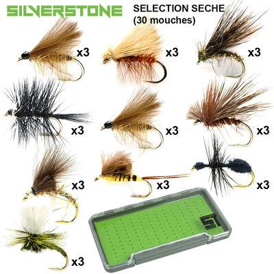 Sélection silverstone mouches sèches 10 modèles (30 mouches + boite étanche) - Packs | Pacific Pêche