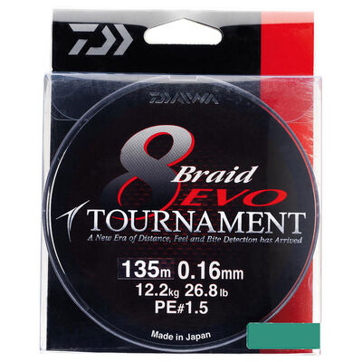 Tresse daiwa tournament 8 braid evo multicolor 300m - Tresses | Pacific Pêche