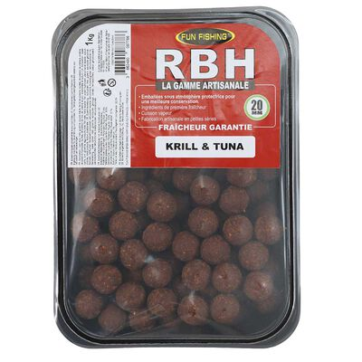 Bouillettes carpe fun fishing rbh boilies krill tuna  20mm 1kg - Denses | Pacific Pêche