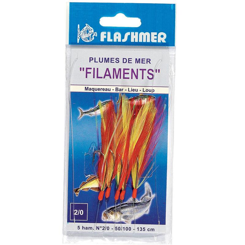 Train de plume filaments flashmer 3 hameçons taille 1/0 - Bas de Lignes / Lignes Montées | Pacific Pêche
