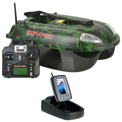 Pack bateau amorceur quad explorer camo 5.8ghz + sondeur tf500 - Packs | Pacific Pêche