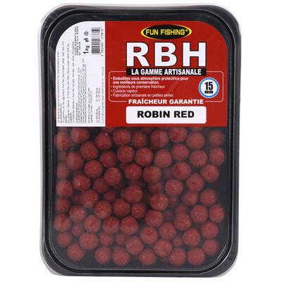 Bouillettes carpe fun fishing rbh boilies robin red 15mm 1kg - Denses | Pacific Pêche
