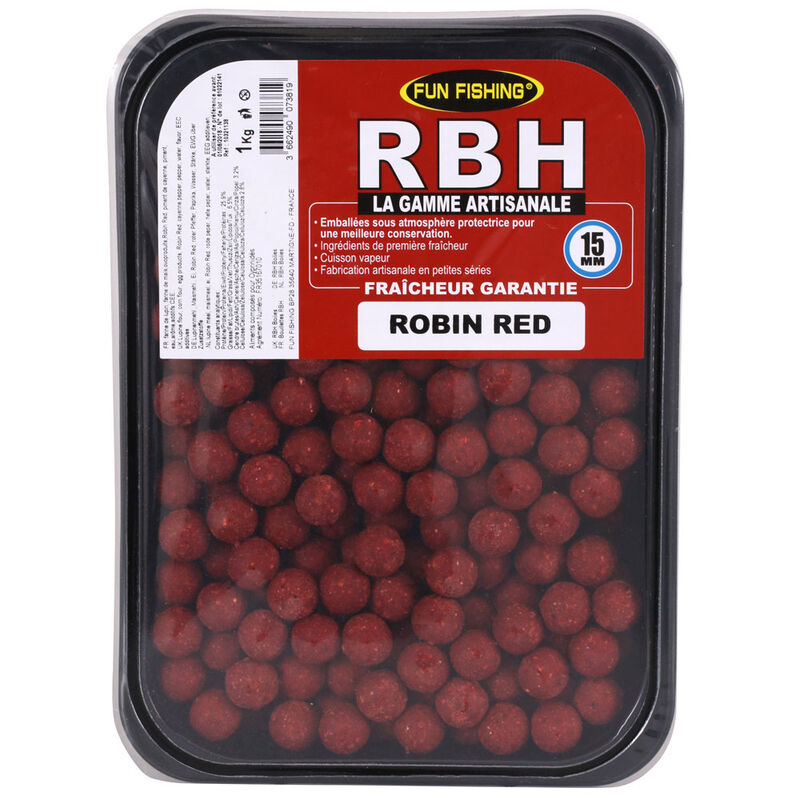 Bouillettes carpe fun fishing rbh boilies robin red 15mm 1kg - Denses   Pacific Pêche