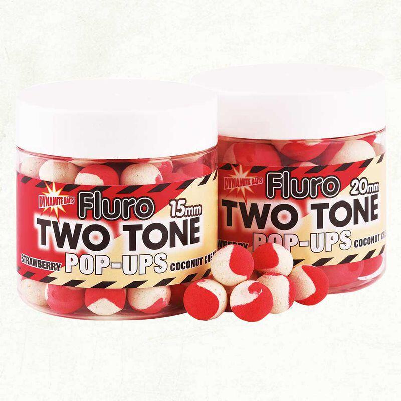 Bouillettes flottantes dynamite baits fluro two tone strawberry+coco - Flottantes   Pacific Pêche