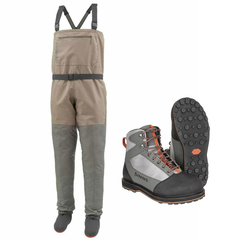 Pack wading simms tributary stockingfoot tan + chaussure tributary caoutchouc - Packs wading | Pacific Pêche