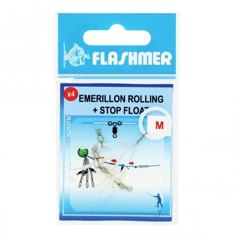 Emerillons flashmer rolling et stop float (pochette de 4) - Emerillons mer | Pacific Pêche