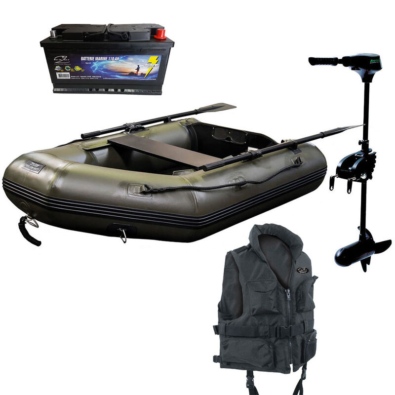 Pack proline bateau 270ad lightweight + moteur 45lbs black + batterie 110ah + gilet offert - Packs | Pacific Pêche