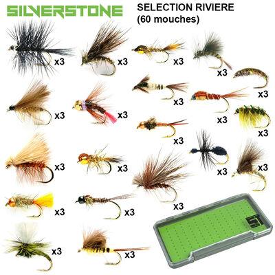 Sélection silverstone rivière 20 modèles (60 mouches + boite étanche) - Packs | Pacific Pêche