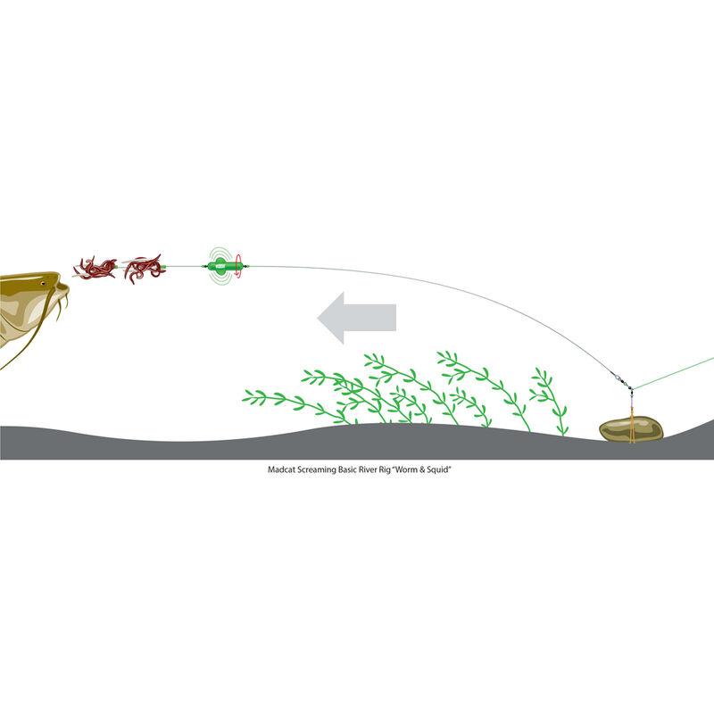 Bas de ligne monté silure madcat screaming basic river worm & squid - Filaments / Bas de lignes | Pacific Pêche