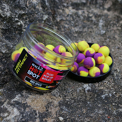 Bouillettes flottantes mack2 red spice high attract fluo pop up two tone - Flottantes | Pacific Pêche