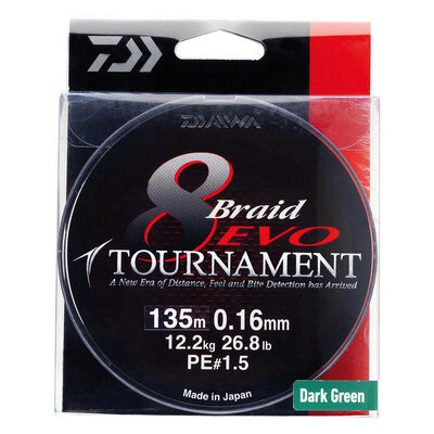 Tresse carnassier daiwa tournament 8 braid ev dark green 135m - Tresses | Pacific Pêche